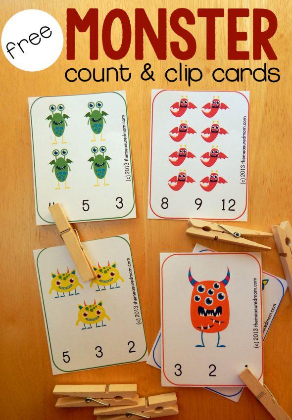 free preschool counting printable monster count clip cards count free preschool and preschool. Black Bedroom Furniture Sets. Home Design Ideas