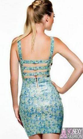 """PARIS"" PRINT BACK ZIPPER BANDAGE DRESS"