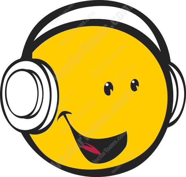 Yellow Smiling Happy Face Emoticon Wearing Headphones Facing Right #emotion #expression #face #feeling #grinning #happy #headphones #listening #mood #music #PDF #smiley #smiling #vectorgraphics #vectors #vectortoons #vectortoons.com