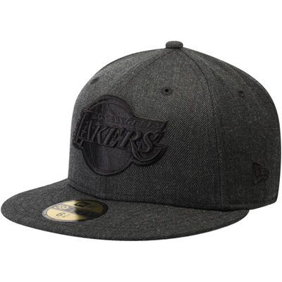 Los Angeles Lakers New Era Total Tone 59FIFTY Fitted Hat - Heathered Black