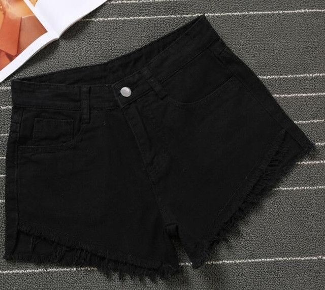 iMucci Summer Black Blue Women Jeans Shorts Hole High Waist Shorts Black Cheap Jeans Autumn Spring Lady Fashion Short Pants