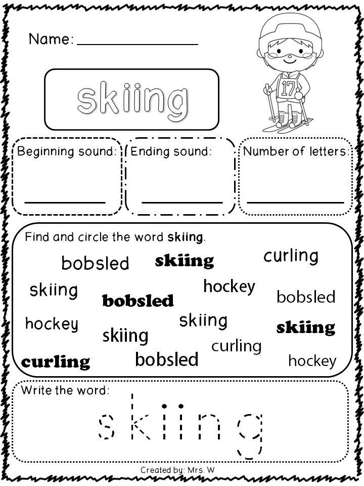 Winter Sports Preschool Printable Worksheet. Winter. Best ...