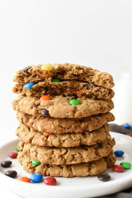 Giant Monster Cookies: This classic recipe is kicked up a notch and made GIANT! Peanut butter and M&M's work together to create the best cookie recipe ever! ~ I Am Baker