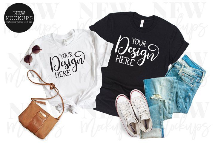 Download White And Black Bella Canvas 3001 Couples T Shirt Mockup 966495 Clothing Design Bundles Shirt Mockup Couple T Shirt Clothing Mockup