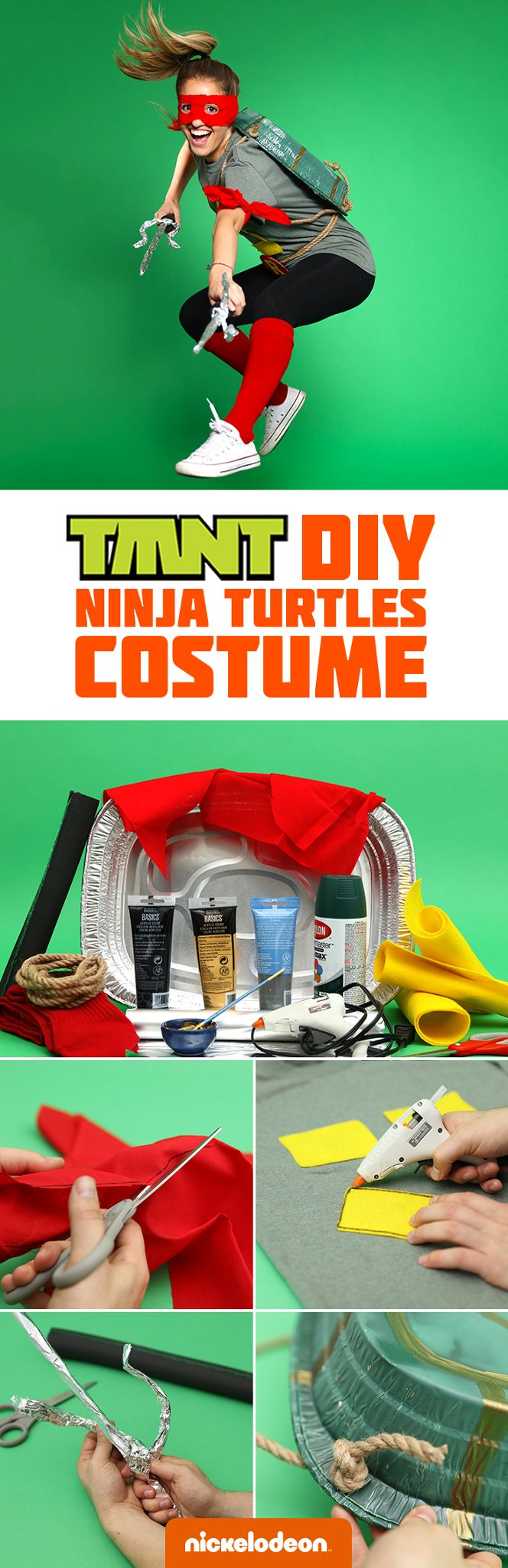 A Ninja Turtle's got no problem with a last minute Halloween costume. This DIY Teenage Mutant Ninja Turtle outfit is quick, easy, inexpensive, and perfect for kids and parents alike!