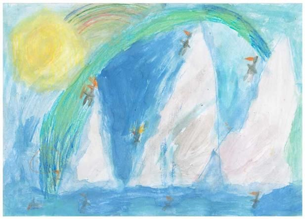 """The Penguin Park by Zach R., Grade 1. This artwork (originally sized at 6""""x10"""") was chosen to be reproduced as a 20""""x 30"""" poster for his school's fundraiser.  Zach's Artist Statement: When the school bell rings, the penguins head to the penguin park. Some are swimming. Some are sliding. It's penguin fun!"""