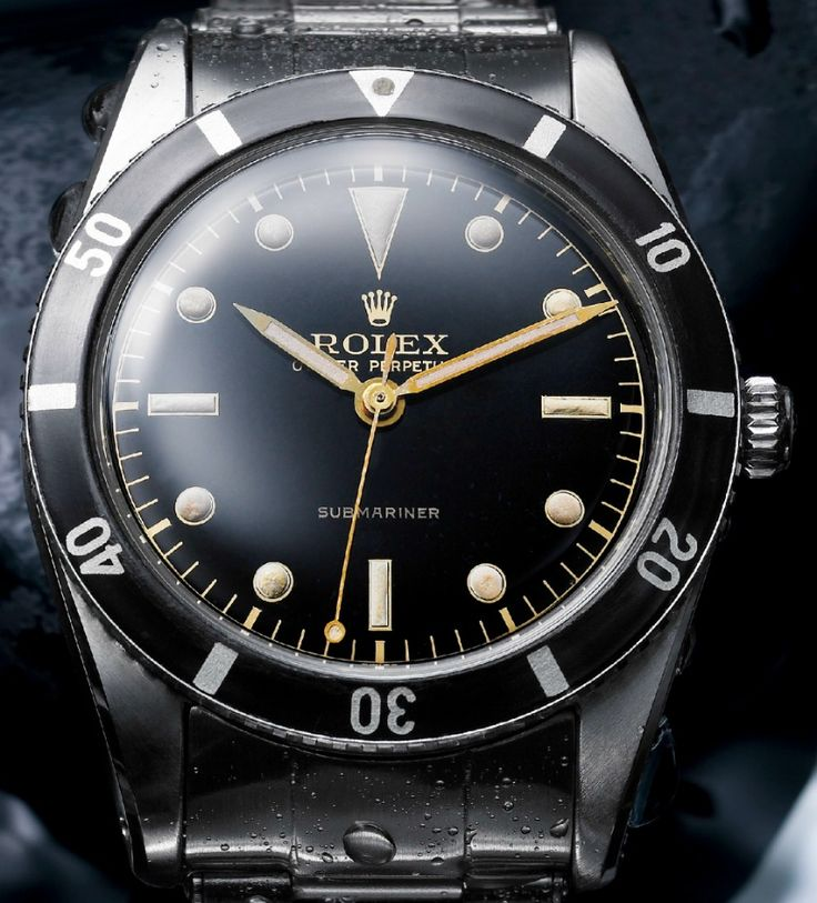 Rolex produced the very first Submariner in 1953 with this model ref. 6204 watch. The Submariner would go on to not only become one of the most iconic timepieces in the world, but also one of the most heavily emulated, desired, and studied. The Submariner was the first diver's watch from Rolex and followed a legacy that started in 1926 when Rolex released its first water-resistant watch, the Oyster.