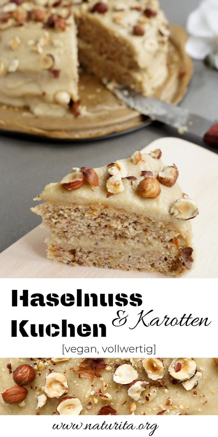 Haselnuss-Karotten-Kuchen mit Cashewcreme [vegan, low fat]