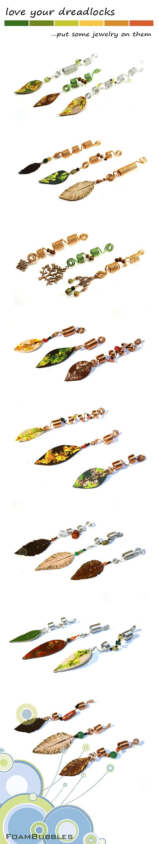 Dreadlocks jewelry, with copper swirl, semiprecious chips, lots of beads…