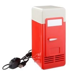Portable USB Powered Mini Fridge Cooler and Warmer Can Refrigerator Drink Can Cooling Car Kit Red