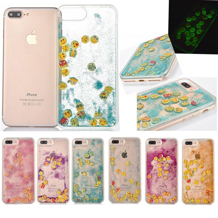 Newest For iPhone 6 6S 7 7 Plus Back Cover Expression Luminous Glitter Dynamic Liquid Quicksand Soft Phone Cases Coque YC2246
