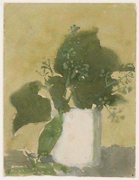 Green leaves in a white jug Posters Art Prints by Gwen John - Magnolia Box