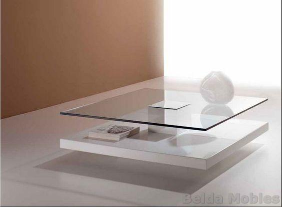 Mesa centro moderna estructura de madera y sobre de cristal de 110 cm.Diferentes medidas y acabados en lacados y maderas....