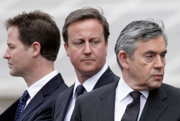 Gordon Brown, David Cameron, Nick Clegg