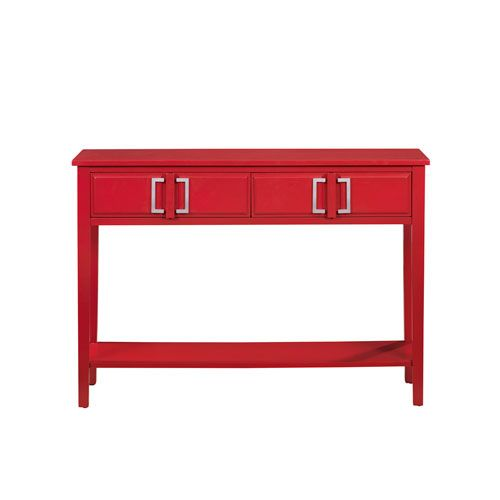 Pulaski Furniture Red Console Table With 2 Drawers And Lower Storage Shelf On SALE