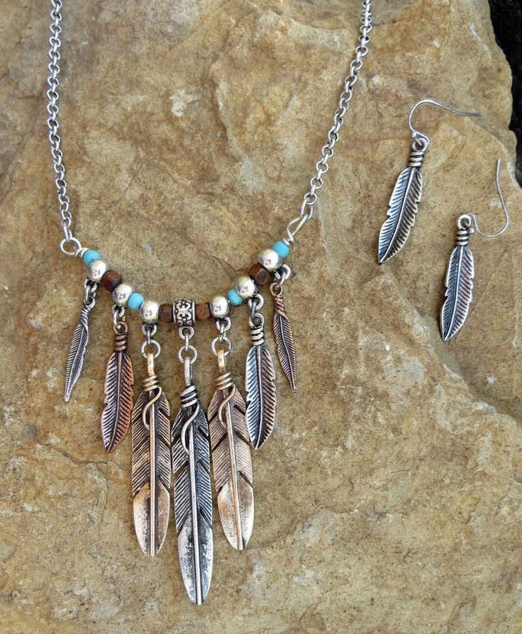 Cowgirl Necklace set Tribal Native FEATHER Turquoise Southwestern Gypsy…