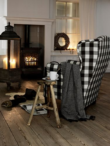 gingham chair, cozy living space