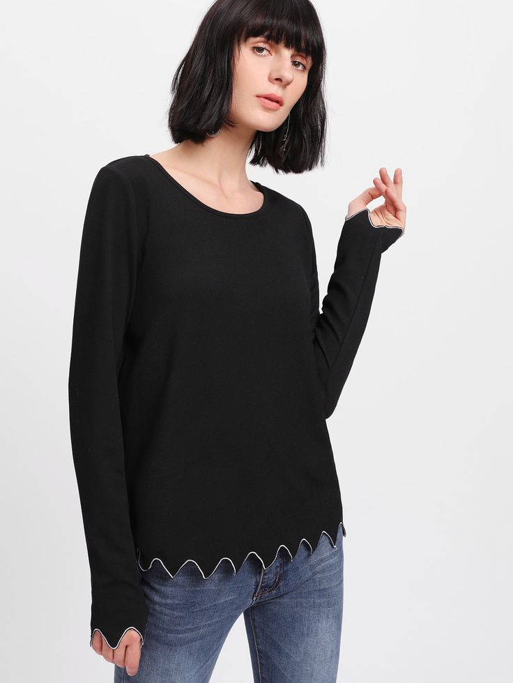 Shop Embroidered Scallop Hem Ribbed T-shirt online. SheIn offers Embroidered Scallop Hem Ribbed T-shirt & more to fit your fashionable needs.