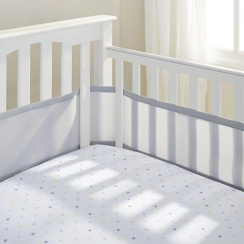 Breathable Mesh Crib Liner by Breathable Baby - Grey  ---There are cuter crib bumper things but we got this kind because it has breathable mesh.  Great peace of mind!