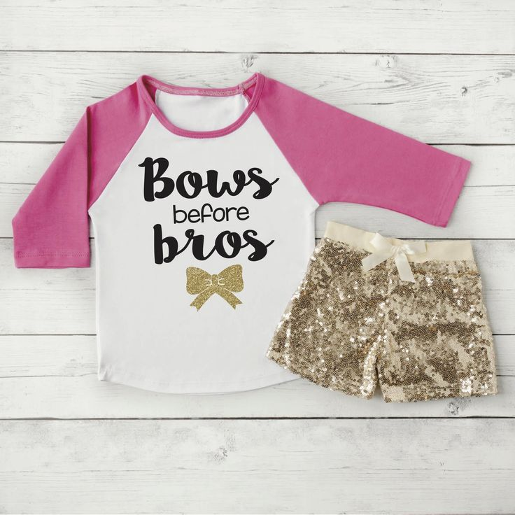 Bows Before Bros Shirt Toddler Raglan Baby Girl Clothes Gold Sequin Shorts Hipster Baby Clothes Girl Gift Toddler Girl Clothing 097