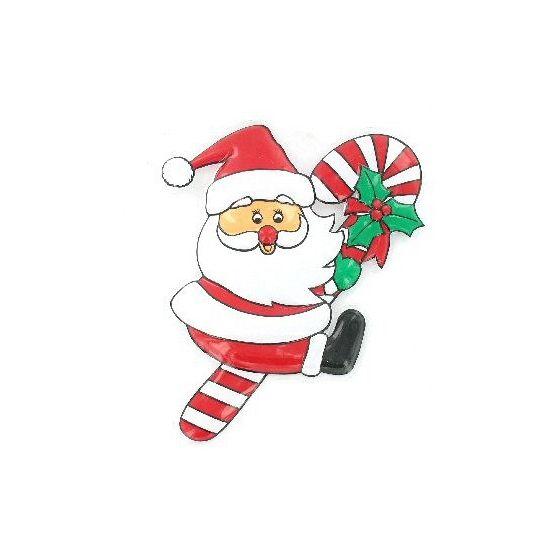 Bord kerstman aan zuurstok. Decoratie bord met hierop de kerstman hangend aan een zuurstok. Het bord is 32 x 22 cm.