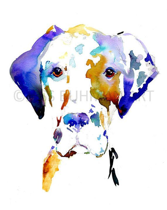Print Of Watercolor Painting Hank The Great Dane 8 X 10 Pet Dog