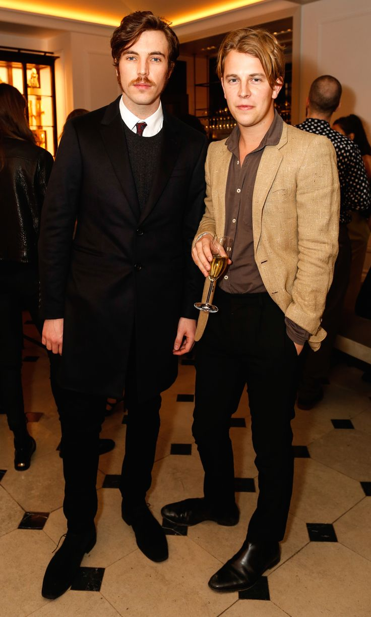 British actor Tom Hughes wearing Burberry with Burberry Acoustic alumni Tom Odell at the So It Goes x Burberry event in London