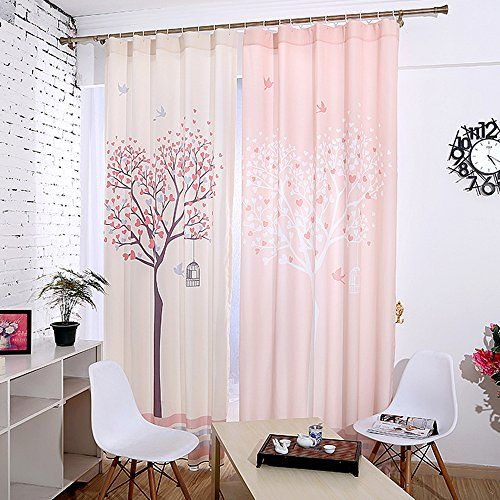 KoTing Home Fashion Cream Polyester Modern Red and Gray Hearts Romantic Love Tree with Lovely Little Birds Print Window Curtains Drapes Plain Top1 Panel57 by 96inchfor kids room *** You can get additional details at the image link. Note: It's an affiliate link to Amazon.