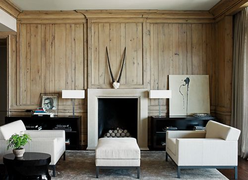 paneling.: Woods Panels, Living Rooms, Betsy Brown, Leather Couch, Black And White, Interiors, Fireplaces Surroundings, Woods Wall, Design