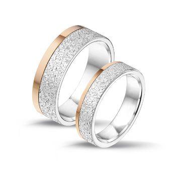 Tresor hopea/rose kihlasormus Leveys: 5/7mm I Tresor silver/rosé engagement ring Width: 5/7mm
