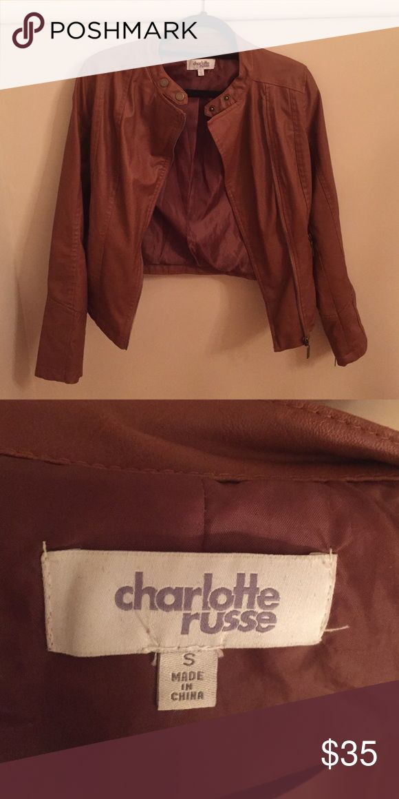 Charlotte Russe tan leather jacket Size small fall tan leather jacket. Only worn once very lightly. I did not have as many occasions to wear this to and then I outgrew the jacket Charlotte Russe Jackets & Coats