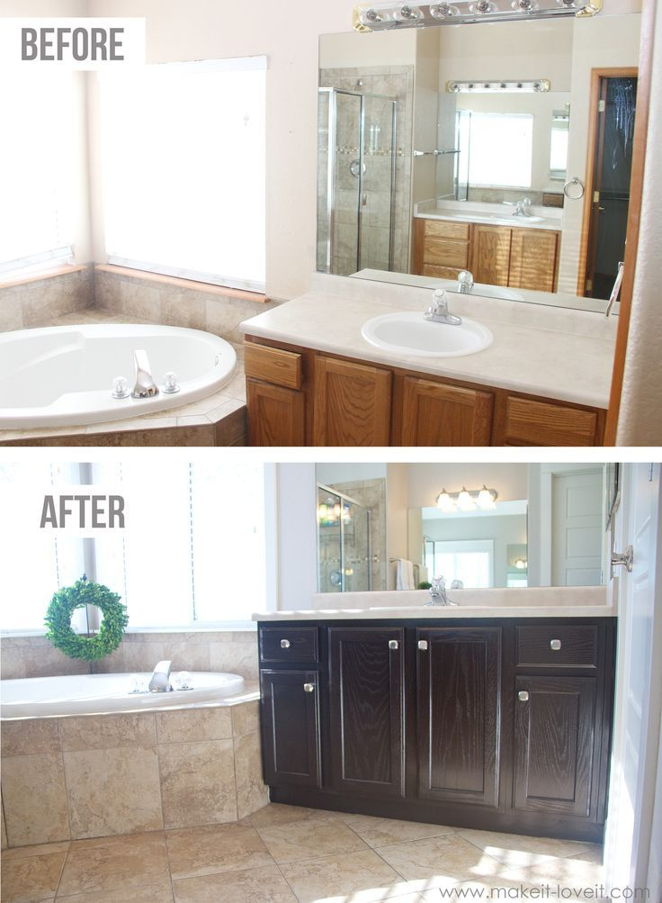 How to Stain OAK Cabinets...the simple method (no sanding necessary)!  via Make It and Love It
