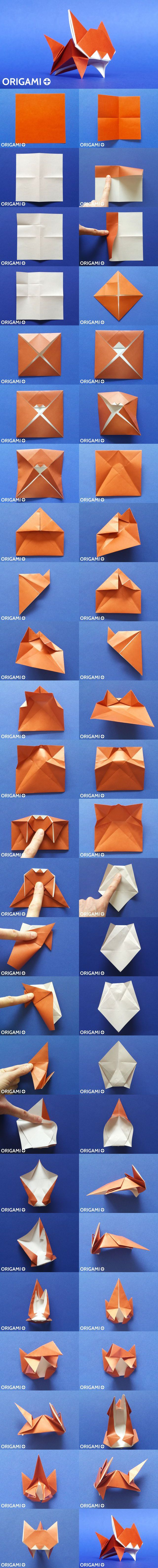 Very Cute Origami Cat tutorial, Jumping Origami Kitten diagram and video instructions