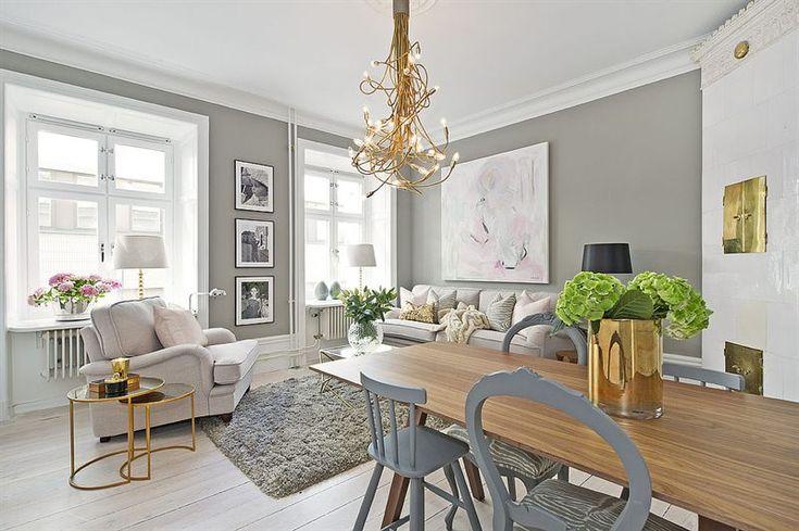 Livingroom/diningroom Inredning & styling: Sophia Björnsdotter. Foto: Martin Stern via mäklarfirman Living. Case: Jutas backe 5 http://www.hemnet.se/bostad/bostadsratt-3rum-city-norrmalm-stockholms-kommun-jutas-backe-5-6328563