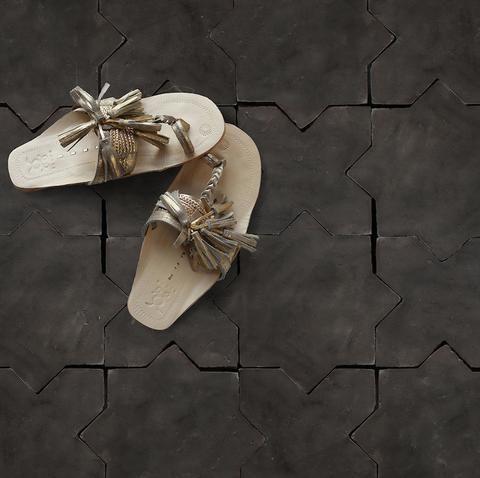 Belgian Black French Terra Cotta Tile | star cross shaped