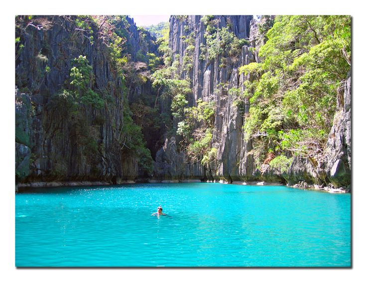 """Small Lagoon - El Nido, Palawan I would name the color of this water, """"unbelievable blue"""""""