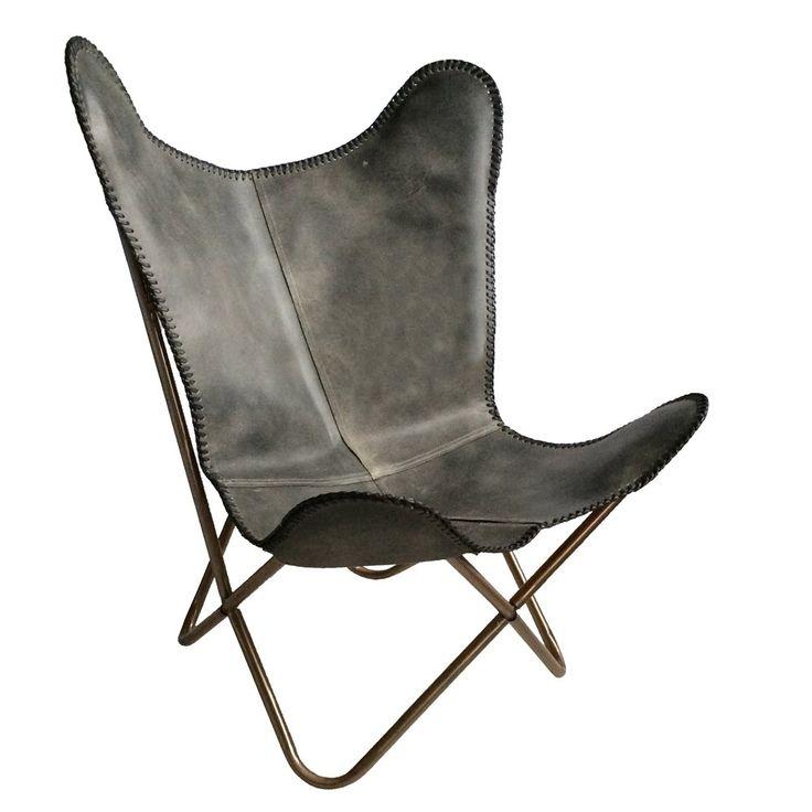 Woonkamer inspiratie | Must have | Leren vlinder stoel vintage grijs