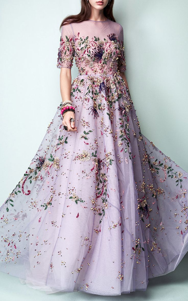 2017 Floral Embroidered Short Sleeve Gown by Georges Hobeika…