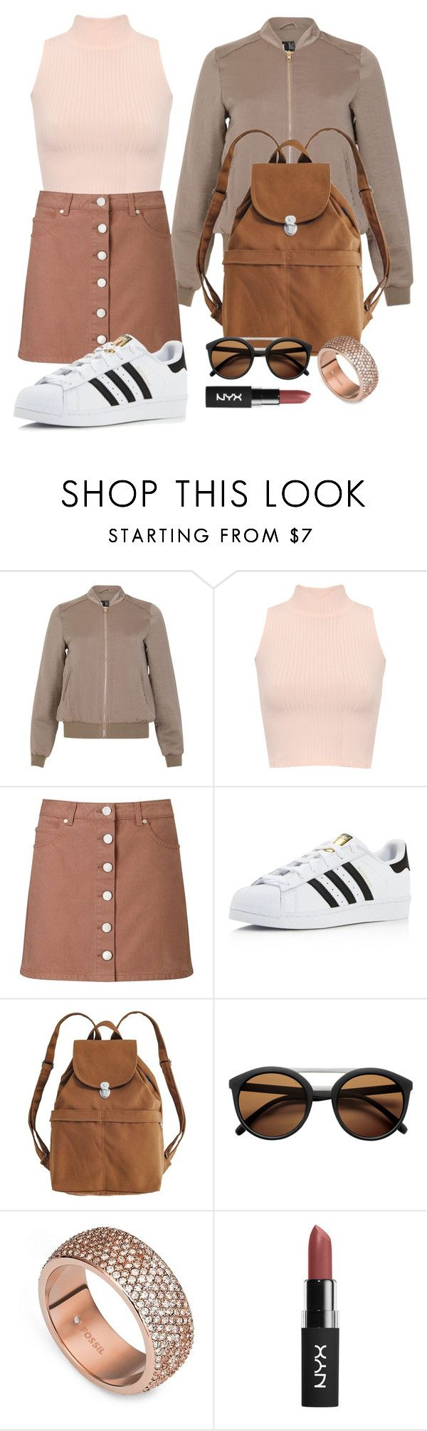 """Back To School // Sepia"" by kaymarek ❤ liked on Polyvore featuring Izabel London, WearAll, Miss Selfridge, adidas, BAGGU, FOSSIL and BackToSchool"