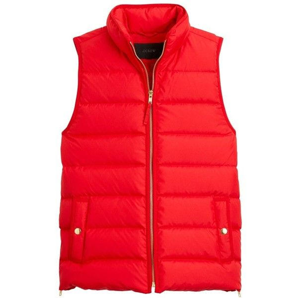 Women's J.crew Anthem Down & Feather Fill Puffer Vest ($72) ❤ liked on Polyvore featuring outerwear, vests, dark poppy, petite, puffy vests, red puffy vest, petite vests, puffer vests and red puffer vest