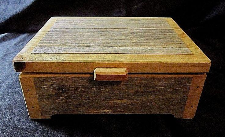 RUSTIC HAND MADE FOLK ART WOODEN KEEPSAKE BOX - Two Tones of Unfinished Wood #Unbranded #FolkArt $21.99