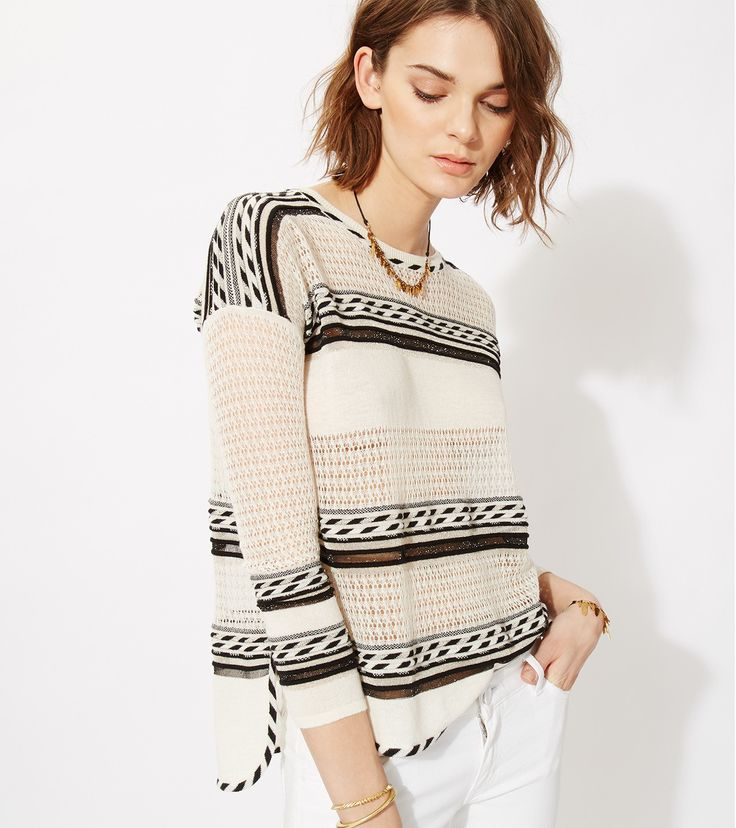 maje MANGUE Fine openwork and lurex knit sweater at Maje US
