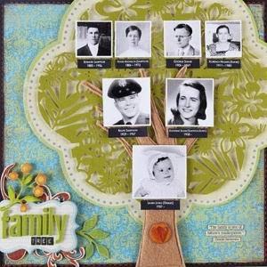Family tree scrapbook layout