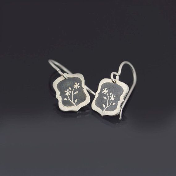 Tiny Sterling Silver Flower Earrings Etched Sterling Silver by Lisa Hopkins Design