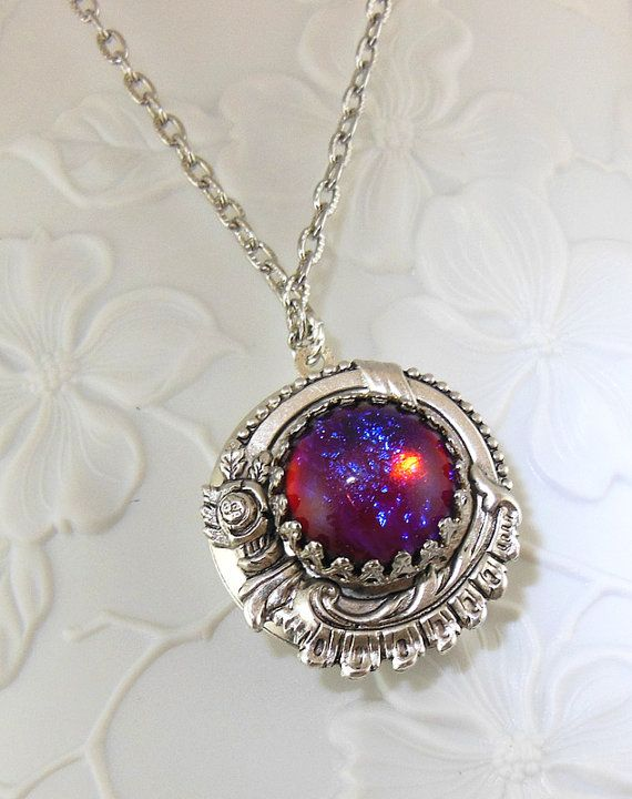 Dragons Breath Fire Opal Locket Necklace by MyLimoIsWaiting, $29.00