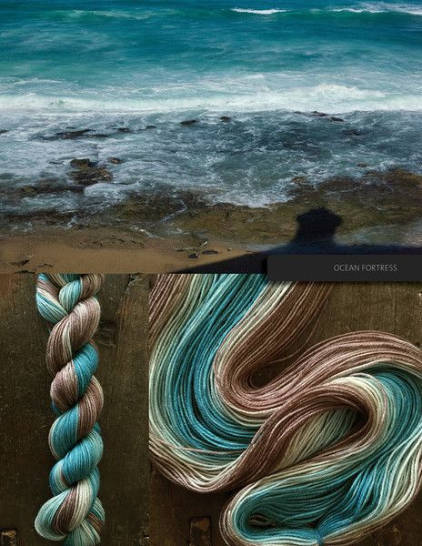 Ocean Fortess, an ombré yarn of blue, to lighter blue, to seafoam, then tan, and finally a sandy brown. Based off a photo taken in Puerto Rice, at the 16th century Castillo San Felipe del Morro. This yarn may be ordered in any of the bases listed below. Please note that these yarns are dyed-to-order, and that, from dyeing to delivery may take up to three weeks. Escarpment DK 100% Superwash Merino293 yards/267 metres per skein  Killarney Sock80/20 Superwash Merino/Nylon437 yards/400 metres…