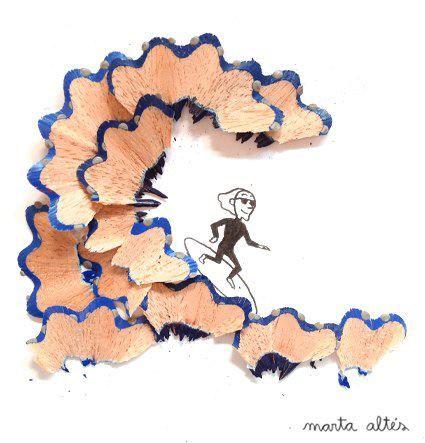 Marta Altés arte con viruta de lápices