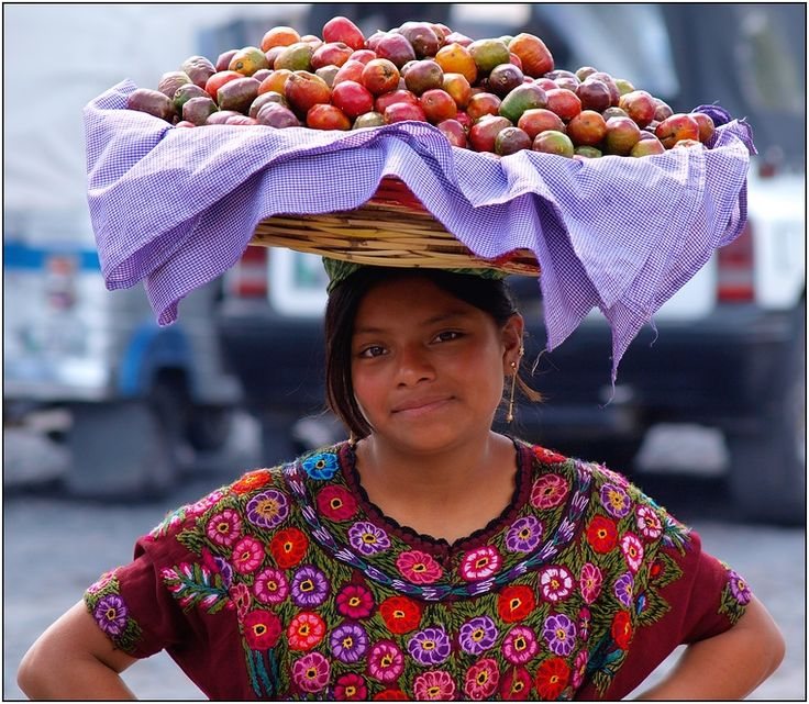 The women of Guatemala carried an amazing amount of things on their heads.