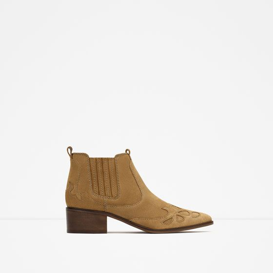 Image 1 of BLOCK HEEL LEATHER COWBOY ANKLE BOOTS from Zara