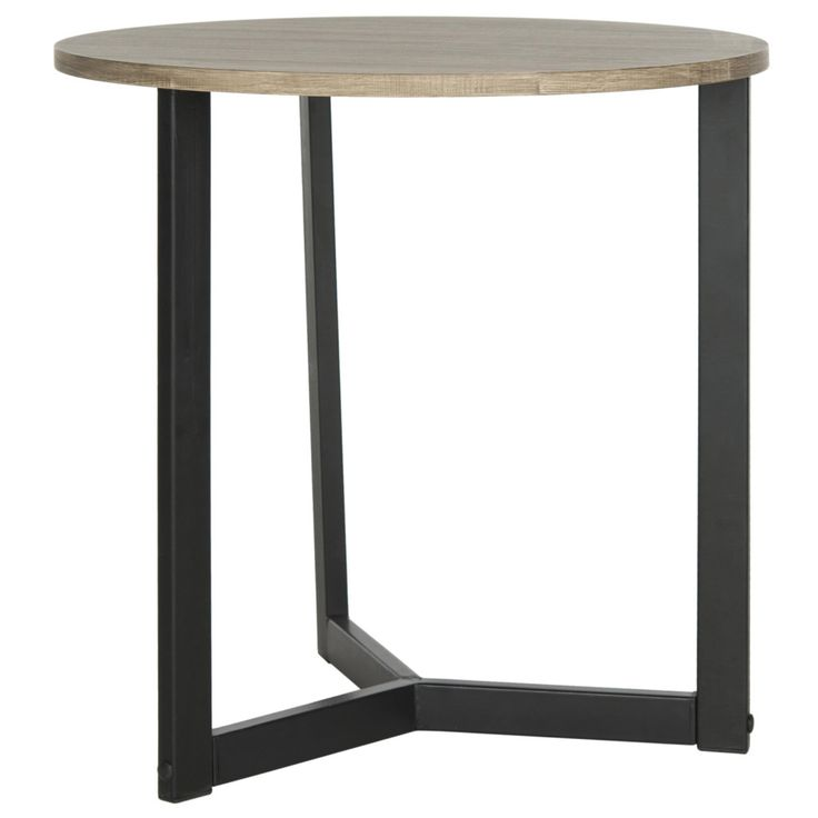 Mccomb Side Table has a nice wood top paired with a solid black base